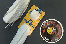 "White Fat Flat 50"" x (5/8""-3/4"") JN Shoelaces Shoe Strings Piranha Records"