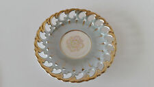 """Royal Sealy China Japan Saicer Lusterware Reticulated Green Gold Trim 6"""""""