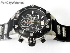Invicta Men's 52mm Speedway Swiss Chronograph Black Dial Black Silicone Strap