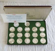 GIOCHI OLIMPICI MONACO 1972 18 .999 BELLE MEDAGLIA D'ARGENTO PROOF SET-boxed/COA