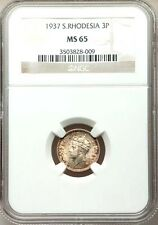 SOUTHERN RHODESIA 1937 THREE PENCE COIN, CERTIFIED NGC GEM UNCIRCULATED MS-65