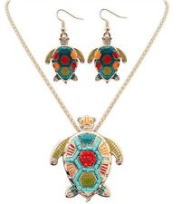TURTLE CHARM PENDANT GOLD CHAIN NECKLACE ENAMEL MATCHING EARRINGS NEW OCEAN