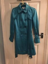 Stunning Satin Trench Coat Marks And Spencer M&s Turquoise Blue Size 8 S M