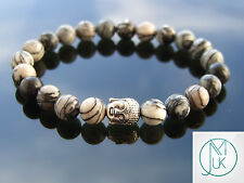 Buddha Black Veined Jasper Natural Gemstone Bracelet 7-8'' Elasticated Healing