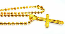 Men Women Gold Iced Out Small Cross Long Bead Chain Men's Hip Hop Necklace