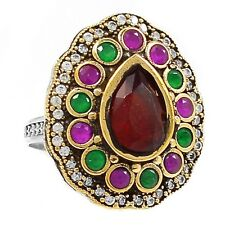 Turkish Ruby, Emerald & Cz 925 Sterling Silver Ring Jewelry s.9.5 SR205720