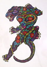 1 x EXTRA LARGE PANTHER and ROSES TEMPORARY TATTOO multi colour = TP PANTHER