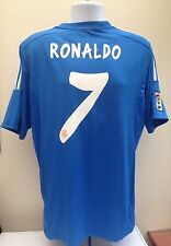 Real Madrid Football Shirt RONALDO 7 Large L Away 2013 2014 Blue CR7