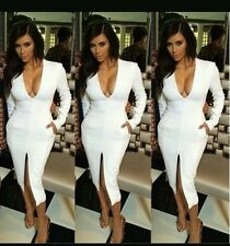 Womens bodycon white pocket split front midi dress kim kardashian style ladies