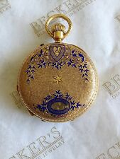 Antique 18k Blue Enamel Etched pocket Watch Cuendet Frères ser # 14530 19 jewels