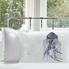 One Navy Blue Jellyfish jelly fish Pillowcase pillow case cover nautical bedding