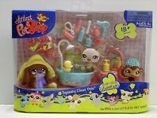 Littlest Pet Shop LPS Squeaky Clean Pets Set #663-#665 Dog Cat Monkey Sealed New