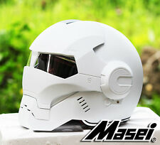 Masei 610 Atomic-Man Iron Flip-Up Bike Motorcycle Helmet Matt White