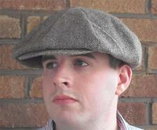 THE GODFATHER PEAKY BLINDERS GANGSTER NEWSBOY BROWN HERRINGBONE FLAT CAP HAT