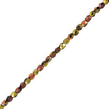"Feu Tchèque Perles 4 mm polonais Jet California Gold Rush 6 ""Strand 40 piece (G109 / 4)"
