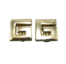 Givenchy Vintage Clip Earrings Shiny Gold Logo Modernist Designer Jewelry 263g