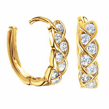 Jewelry White Gold Filled Infinity Knot Small Hoop Diamonds Earrings 187-72