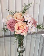 Artificial Flower Arrangement, Rose Display Set In A Glass Vase With Water
