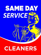 """Same Day Service Cleaners Dry Cleaners Display Sign, 18""""w x 24""""h, Full Color"""