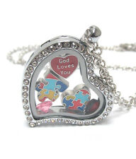 ORIGAMI-STYLE AUTISM Puzzle Heart Floating Charm Heart Locket Necklace