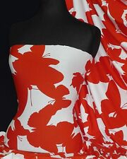 Viscose Cotton Stretch Lycra Fabric Red / White  Butterfly Material Q1314 RDWHT