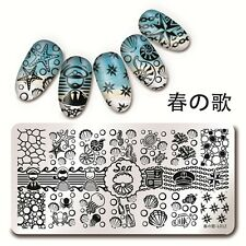 Harunouta-L012 Nail Art Stamping Image Plate Template Sea Shell Starfish Design