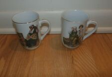 Set of 2 Norman Rockwell 1982 Museum Inc. Mugs/ Cups Memories & The Cobbler 4""