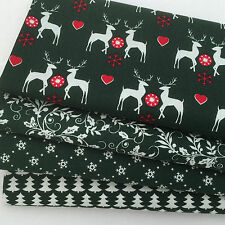 Bundle 4 festive christmas fat quarters green & white stags 100% cotton no 68