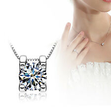 925 Sterling Silver Squre Shape Crystal Chain Necklace Pendant Girl Gift