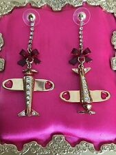 Betsey Johnson Vintage Miami Chic Gold Air Plane Airplane Red Bow Earrings RARE