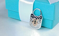 NEW Tiffany & Co. Vintage Hammered Lock Charm Rose Gold 18k Key 750 Silver 925