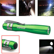 New Green CREE Q5 LED 1000Lumen Lamp Clip Mini Penlight Flashlight Torch AAA B6