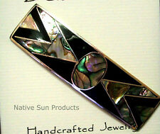 """Hair Barrette Geometric design Mother of Pearl Inlays 3.25"""" Black SQGE"""