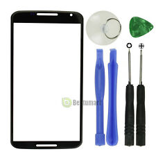 Black For Motorola Google Nexus 6 Front Outer Screen Glass Lens Replacement + TL