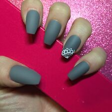 Hand Painted Full Cover False Nails. Coffin/Ballet Matte Grey With Lace Detail.