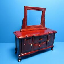 Dollhouse Miniature Bedroom Dresser ~ Wood in Mahogany with Mirror ~ T3807