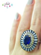 Turkish Ottoman 925 Sterling Silver Jewelry Victorian Sapphire Ring Sz 9 R2336
