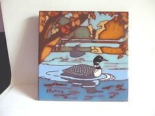 """HANDCRAFTED CERAMIC 6"""" TILE ART TRIVET WALL PLAQUE {DUCKS IN A POND} BY L. KUHNE"""