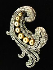 1940 Philippe TRIFARI EMPRESS EUGENIE Rhinestone Pearl FUR CLIP Brooch Pin