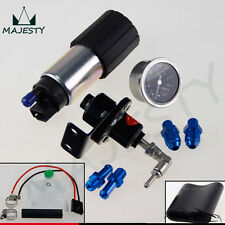 255 LPH EFI Fuel Injection Pump/Tank +140 PSI Pressure Regulator+Oil Gauge Black