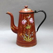 Vintage French Enamel Coffee Pot ~ Brown with Pink Roses ~ Hand Painted Flowers