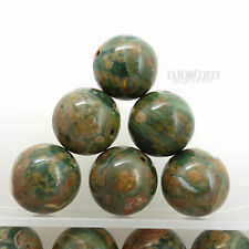 6 Large Natural Rhyolite Round Beads 16mm Green Brown #22104