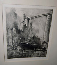 "SIGNED ORIGINAL ETCHING LOUIS ORR  BUFFALO FROM ""PORTS OF AMERICA"" LISTED ARTIST"