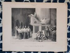 Lithographie XIX ème - Lecture de l'évangile Église Ara-Coeli à Rome - Italie