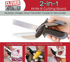 Hot Smart Clever Cutter 2-in-1 Knife Cutting Board Scissor Tools As Seen On TV