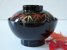 "Japanese 4.5""D Lacquer Miso Soup Rice Bowl W/Lid KINTAKE Leaves/Made Japan"