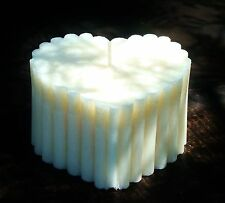 100hr 1kg UNSCENTED 100% NATURAL VEGETABLE WAX Huge SCALLOPED LOVE HEART CANDLE