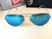 Ray Ban Aviator Sunglasses model RB3025 112/17 58-14 Gold Frame Flash Blue