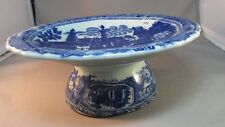 Lovely VICTORIA WARE FLOW BLUE PEDESTAL COMPOTE / CENTERPIECE! Ironstone
