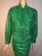 ESCADA Womens 38 8 10 SEXY REPTILE GREEN LEATHER RARE Vintage 1980's JACKET COAT
